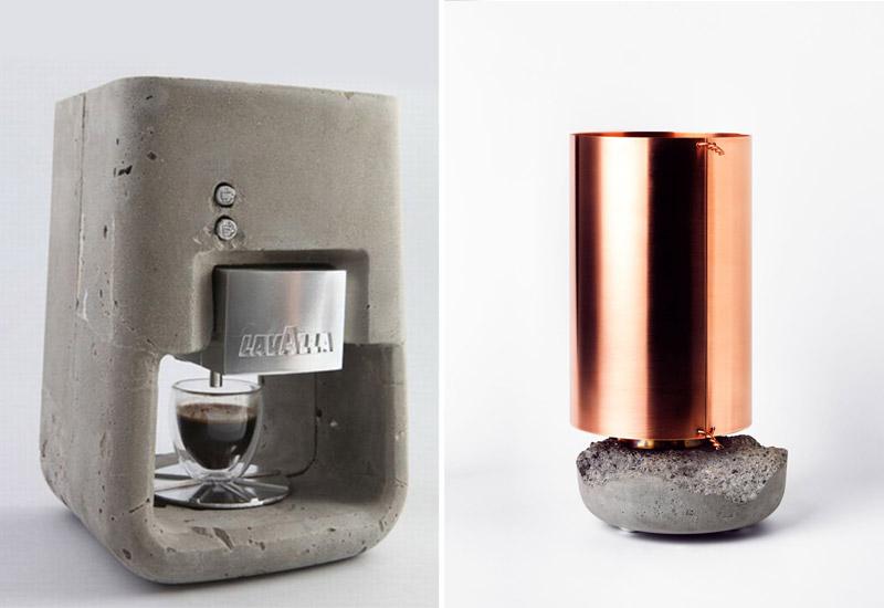 מימין - מנורת שולחן David Taylor,  מתוך: Design Inspirations. משמאל -  מכונת קפה, שמואל לינסקי, מתוך: Design Inspirations
