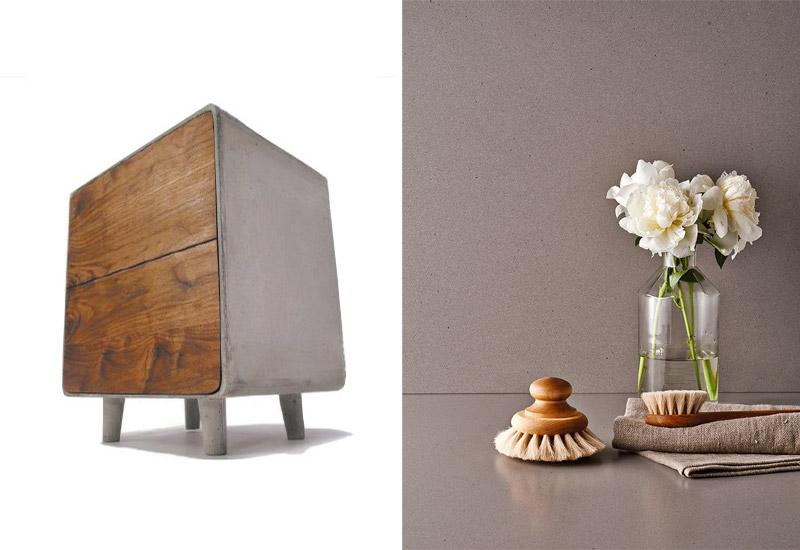 מימין - Sleek Concrete 4003, משמאל - שידת בטון ועץ, סטודיו Wanken