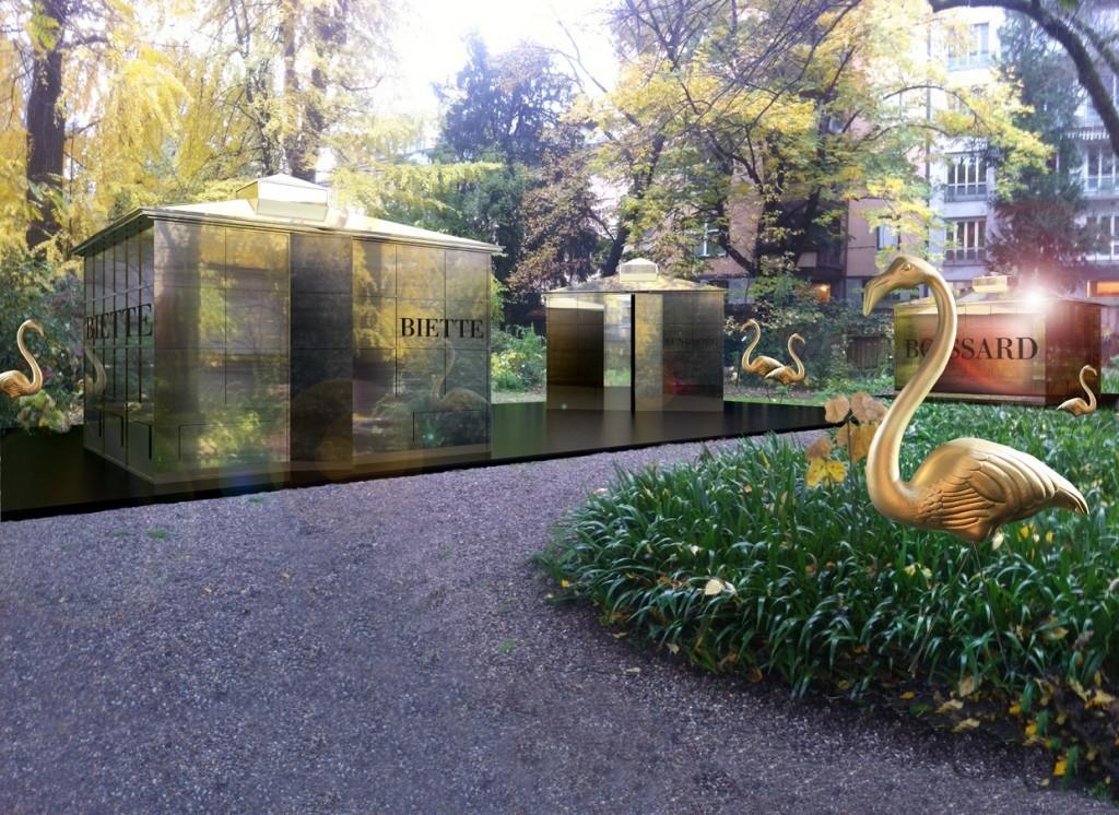 פרשנות היסטוריות לחברות בישום שעברו מהעולם בגן הבוטנאי של מילנו. The Garden of Wonders - BE OPEN - Installation by Ferruccio Laviani