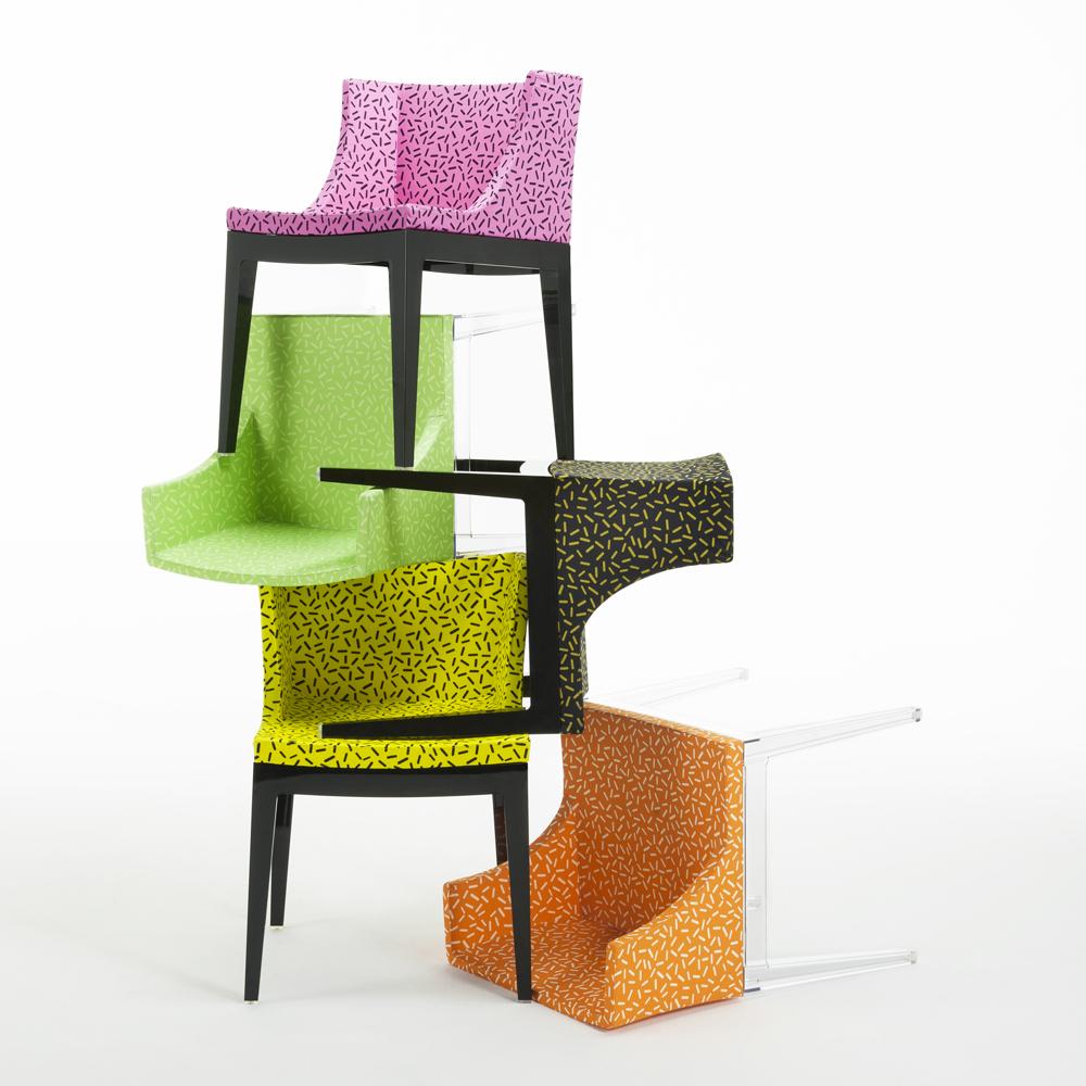 כסאות Mademoiselle בעיצוב פיליפ סטאק לקרטל עם ריפוד חדש של קבוצת ממפיס