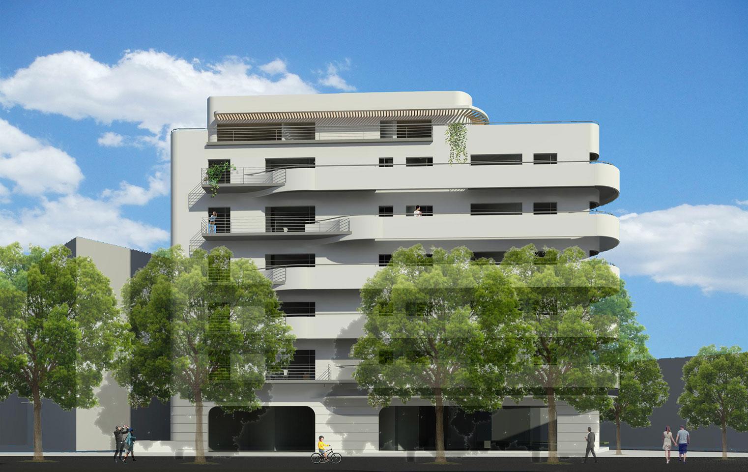 בניין פרטי ברחוב ביאליק, תל אביב. הדמייה: נוימן חיינר אדריכלים