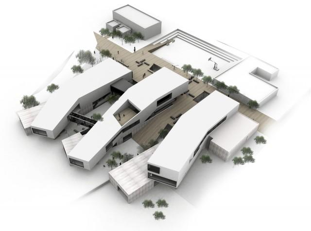 פרס על מקום שני בתחרות פתוחה לתכנון בי״ס לקהילת חב״ד בנצרת עילית, בשיתוף גבי שוורץ. הדמיה: so אדריכלים