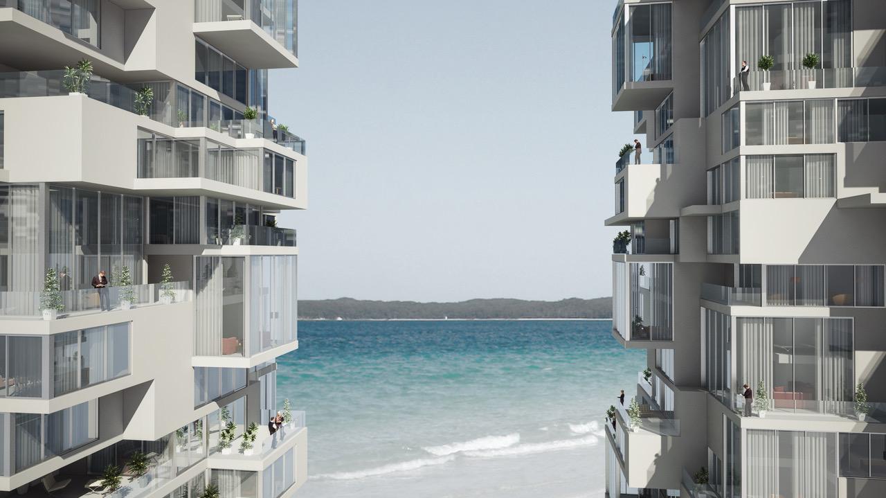 מגדלים בנתניה, זוכה אות העיצוב 2014. הדמייה: my architects